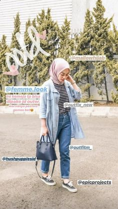 Discover recipes, home ideas, style inspiration and other ideas to try. Hijab Casual, Ootd Hijab, Casual Outfits, Fashion Outfits, Hijab Chic, Modern Hijab Fashion, Street Hijab Fashion, Hijab Fashion Inspiration, Muslim Fashion