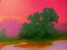 This painting is by Richard Mayhew. Natural landscapes take on surrealistic qualities with the use of color.