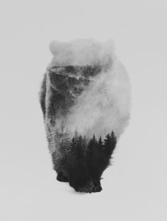 Walking Bear (black & white version) Art Print by Andreas Lie