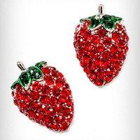 Sparkling Strawberry Stud Earrings