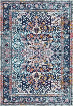Obsessed with this Rugs USA's Bosphorus BD38 Faded Star Petal Emblem Rug!
