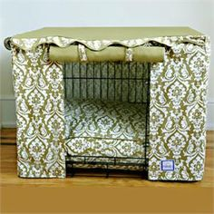 dog crate cover - I am pretty sure you could DIY this fairly easily and make the matching pillow.  You might want to do a more breathable fabric so they get a little air flowing through.