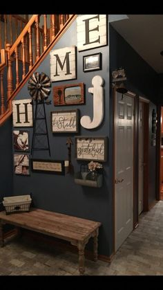 Stairway wall decorating ideas for small foyer - entryway staircase decor picture wall ideas for small foyers. foyer ideas, entryway decor, small entrance hall wall ideas, small foyer bench ideas and more easy home decor ideas on a budget and f Easy Home Decor, House, Staircase Decor, Home Projects, Foyer Wall Decor, Foyer Decorating, New Homes, Home Decor, Decorating Stairway Walls