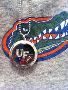 University of Florida Gators inspired lockets (football, gators)   http://www.facebook.com/sparklingurstory