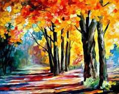 Sunny October  PALETTE KNIFE Landscape Wall by AfremovArtStudio