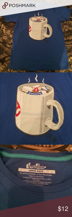 Ghostbusters Stay Puff Marshmallow Man Awesome shirt with the Ghostbusters themed mug of hot chocolate melting the Stay Puff Marshmallow Man. Never actually worn, it was too snug for me Shirts Tees - Short Sleeve
