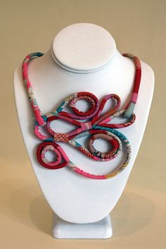 Fabric covered cord necklace