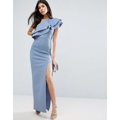 ASOS Double Ruffle One Shoulder Maxi Dress (€90) ❤ liked on Polyvore featuring dresses, blue, slimming dresses, ruffle dress, blue dress, slimming maxi dresses and ruffle maxi dress