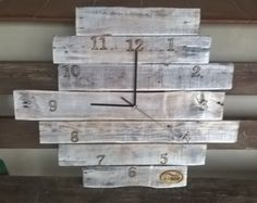 Zegar z palet z-eco Pallet Projects, Recycling, Clock, Wall, Diy, Home Decor, Watch, Decoration Home, Bricolage