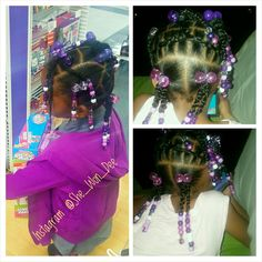 Simple hair styles for little, black girls. Braids, Beads, and rubber bands in curly hair. Cool Easy Hairstyles, Cute Toddler Hairstyles, Black Girls Hairstyles, Cool Haircuts, Pretty Hairstyles, Black Girl Braids, Girls Braids, Medium Hair Styles, Curly Hair Styles