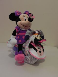 Newborn Minnie Mouse Diaper Cake | Minnie Mouse, diaper cake, motorcycle, baby shower gift, girl, infant ...