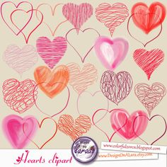 Valentine Heart Clipart Hand Drawn, Valentine's Day Hearts Clip art, Doodle Hearts, Love Clipart Design, valentine's day clipart by DesignOnALara on Etsy
