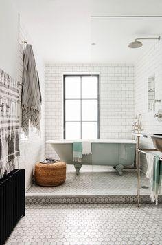 bathroom / ideas / inspiration / hexagon tiling / gray / white / neutral / cozy / decor ideas