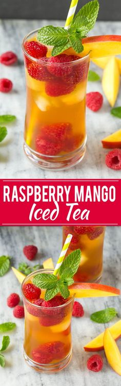 A recipe for light and refreshing raspberry mango iced tea.
