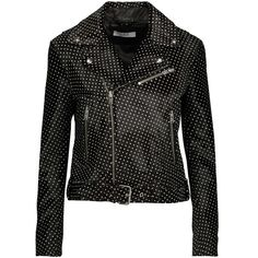 IRO  Alpha printed calf hair-effect leather biker jacket (7 995 SEK) ❤ liked on Polyvore featuring outerwear, jackets, black and white jackets, leather biker jackets, white and black jacket, pocket jacket and genuine leather jackets