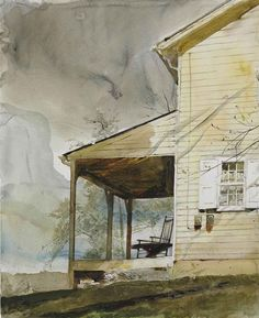 """stepstepby: """" Andrew Wyeth Messersmith's Medium: watercolor and pencil on paper Creation Date: 1994 """" Andrew Newell Wyeth (/ˈwaɪ. July 1917 – January was a visual artist,. Jamie Wyeth, Andrew Wyeth Paintings, Andrew Wyeth Art, Watercolor Artists, Watercolor Paintings, Landscape Paintings, Watercolors, Nc Wyeth, Bonnard"""