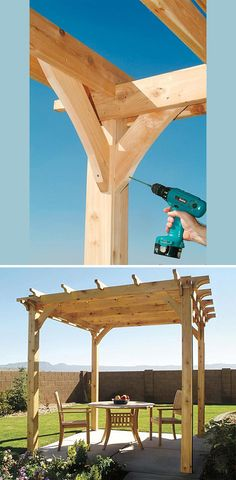 How To Build The Perfect Pergola. Ideas and Tutorials Including from 'popular mechanics', this how-to on building a backyard pergola. Wooden Pergola, Backyard Pergola, Pergola Plans, Pergola Kits, Backyard Landscaping, Pergola Ideas, Pergola Roof, Cheap Pergola, Outdoor Pergola
