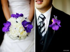 Purple and Cream bouquet with matching purple Vanda orchid and billy ball bout.
