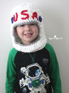 """3…2…1… BLAST OFF! Get ready to explore outer space with thisCrochet Astronaut Helmet! A perfect prop for your kids dress-up trunk. Made with Bernat Blanket Yarn, this patternworks up extremely quickly and couldn't be easier. I made it in a """"one size fits all"""" format. Although you could add on more rounds to make bigger. …"""
