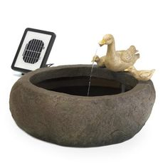 No outdoor electricity? No problem! Clever solar powered pump lets you enjoy this lovely fountain anywhere you choose. Charming stone-look basin is the perfect perch for a family of ducks ready to take a dip!Solar panel and submersible water pump included