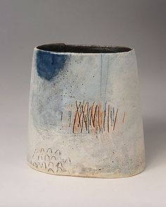 Ceramics by Craig Underhill at Studiopottery.co.uk - 2009 Ancient walls - Blue edge Height 23cm.