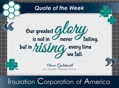 "of the Week ~ Oliver Goldsmith ""Our greatest is not in never failing, but in rising every time we fall. Irish Quotes, New Quotes, Life Quotes, Inspirational Quotes, Quote Of The Week, Playwright, Motivationalquotes, Fails, Wisdom"