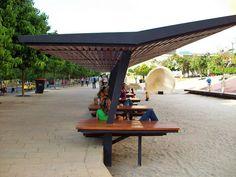 materiales D.I.: Diseño espacios públicos Colombia Medellin Concept Models Architecture, Futuristic Architecture, Landscape Architecture, Architecture Design, Urban Furniture, Street Furniture, Module Design, Outdoor Shelters, Shade Structure