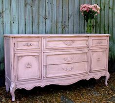 very pretty dresser from pinkporch.blogspot.com - like color & distressing of this dresser 4 guest room