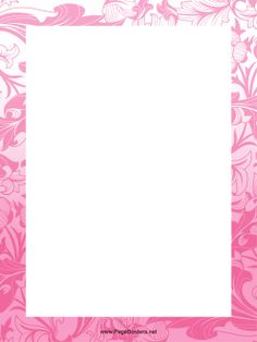 Beautifully Decorated With Detailed Pink Flowers This Printable Page Border Is Great For Nature