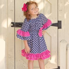 Lolly Wolly Doodle Navy Medallion Hot Pink Dot Ruffle Dress 9/18