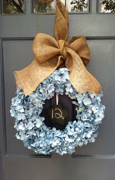 Blue Hydrangea Wreath with Burlap Ribbon and by MonicaMurrayHome, $80.00
