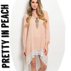 New!  EDEN dusty pink & white dress EDEN dusty pink and white dress. This boho babe dress features long flowy sleeves, scalloped crochet white trim, scooped neckline and relaxed fit. Material: 100% polyester. Available in sizes S, M & L. Please comment what size you need and I will make you a personalized listing. Measurements available upon request. No trades, price firm. Thank you for visiting my closet! Boutique Dresses Asymmetrical