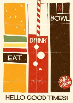 Vintage poster design illustration for All Star Lanes Bowling, bar and restaurant in London and Manchester. Saul Bass  Freelance graphic designer looking for work  www.richardkeelingdesign.com