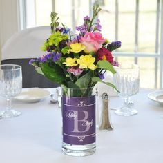 Your reception tables will look stunning when you decorate them with these Regal Table Vases. Crafted of smooth glass and accented with a. Family Reunion Decorations, Family Reunion Themes, Reunion Centerpieces, Purple Wedding Centerpieces, Family Reunions, Wedding Reception Planning, Wedding Reception Table Decorations, Wedding Table, Wedding Ideas