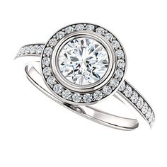 Round Halo Styled Solitaire Diamond BezelSet by RighteousRecycling, $8100.00