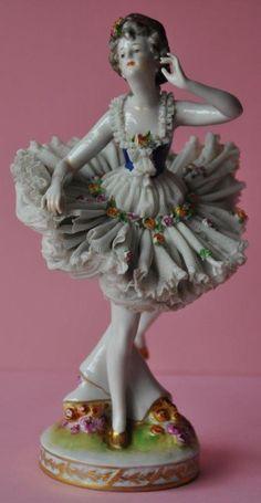 Vintage Porcelain Dresden Lace Figurine Dancer Ballerina Volkstedt Germany. No.2