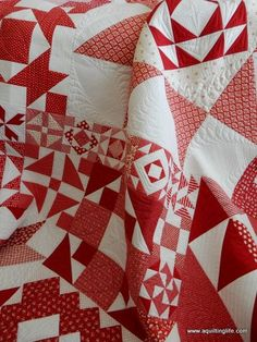 Red & White Moda Building Blocks Quilt | A Quilting Life - a quilt blog