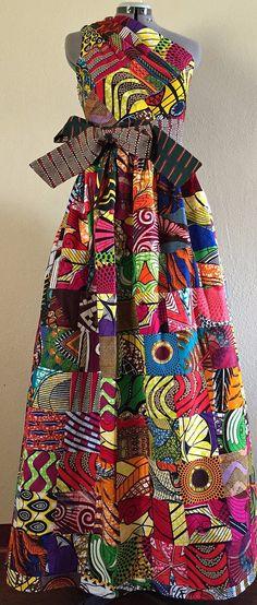 Magnificent Reversible Patchwork One Shoulder Maxi Dress Rock Two Looks in 1 African Wax Print 100% Cotton. Ankara | Dutch wax | Kente | Kitenge | Dashiki | African print bomber jacket | African fashion | Ankara bomber jacket | African prints | Nigerian style | Ghanaian fashion | Senegal fashion | Kenya fashion | Nigerian fashion | Ankara crop top (affiliate)