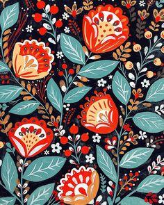 Pin by julie powell on folk art in 2019 рисунки, искусство, Folk Art Flowers, Flower Art, Art And Illustration, Painting Inspiration, Art Inspo, Posca Art, Stoff Design, Russian Folk Art, Scandinavian Folk Art