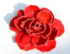 Red Coral Leather Flower Hair Tie Brooch or Accessorie  by ZULYA, $30.00