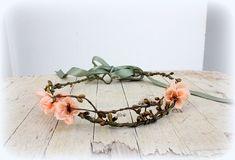 Peach Woodland Crown, Bridal Flower Crown, Woodland Boho Headpiece,Headband, Floral Headband, Flower Headpiece, Garden Wedding Headpiece