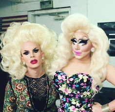 Katya Zamolodchikova and Trixie Mattel. Because we haven't figured out how to actually solve the various things happening in our country, for now we're relying pretty heavily on humor. Barista, Katya And Trixie Mattel, Brian Firkus, Katya Zamolodchikova, Adore Delano, Rupaul Drag, Drag Queens, Hairline, Girls Be Like