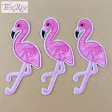 FENGRISE 10PCS Pink Flamingo Bird Animal Embroidered Patch Iron On Patches Applique Sewing Fabric Badge Stickers Accessories(China (Mainland))
