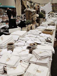 Fleurs 12 A sea of vintage linens…heaven! (at antique market in Utrecht – www.
