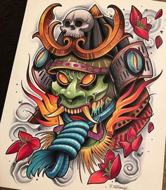 Japan Tattoo Design, Japanese Tattoo Designs, Japanese Tattoo Art, Japanese Sleeve Tattoos, Oni Mask Tattoo, Hanya Tattoo, Tattoo Arm, Neue Tattoos, Body Art Tattoos