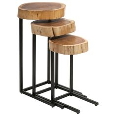 "The Grove nesting tables deliver natural allure to modern interiors. A trio of organic tree slivers sits atop slim black iron frames for a contemporary aesthetic. Small: 10""W x 10""D x 19""H. Medium: 12""W x 12""D x 23""H. Large: 14""W x 14""D x 27""H. Wood and iron. Wipe down with soft, dry cloth to clean."