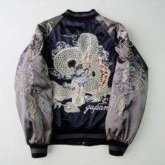 Vintage Japanese Yokosuka Jumper Black Dragon Ryu Tattoo Art Design Dope Badass Embroidered Bomber Sukajan Souvenir Jacket - Japan Lover Me Store
