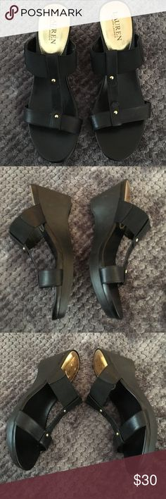 Lauren Rue Wedge Black Leather Slip Sandal Sz 9.5 Very good condition, no rips, no stains. One scuff on top of back heel left shoe as shown on picture. *** I Post Pictures and approximate measurements for your reference only, please do your due diligence.  Smoke and pet free.  If you are sensitive to perfumes, laundry products I would prevent you from buying this listing as much as I appreciate your interest.#laurenralphlauren #laurenfootwear #laurenruewedgesandals…