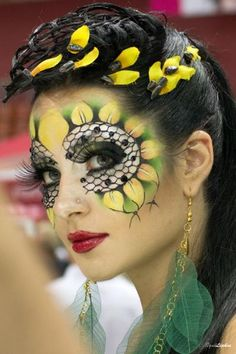 Sunflower Fantasy Makeup. Another one where I am not sure if this is makeup or body paint, but I have to pick a board and it seems to belong here.