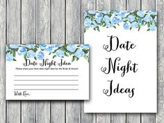 Blue Date Night Ideas Date Night Cards Date Night by BrideandBows